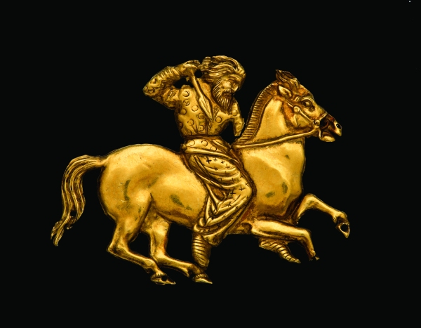 Gold plaque depicting a Scythian rider with a spear in his right hand (second half of the 4th century BC) Kul' Oba. © The State Hermitage Museum, St Petersburg, 2017. Photo: V Terebenin