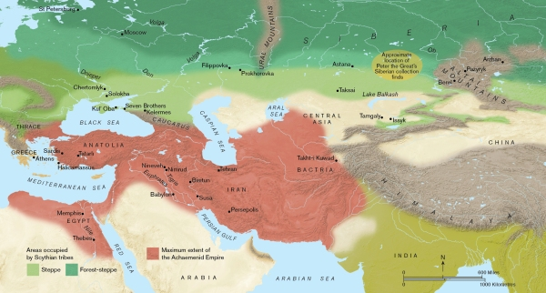 Eurasia showing the extent of the Achaemenid empire (in red) and the Eurasian steppe and mixed woodland largely occupied by the Scythians (in Green). Map produced by Paul Goodhead.