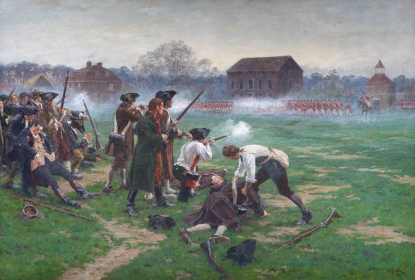 The Battle of Lexington, 19 April 1775 (1910) by William Barns Wollen © National Army Museum