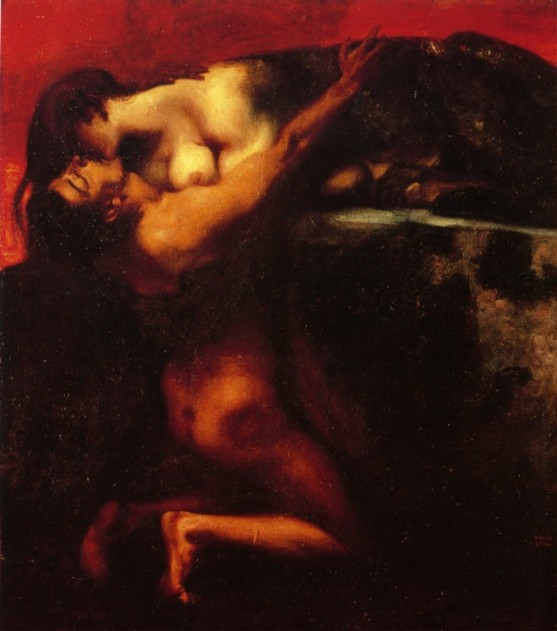 The kiss of the Sphinx by Franz von Stuck (1895)