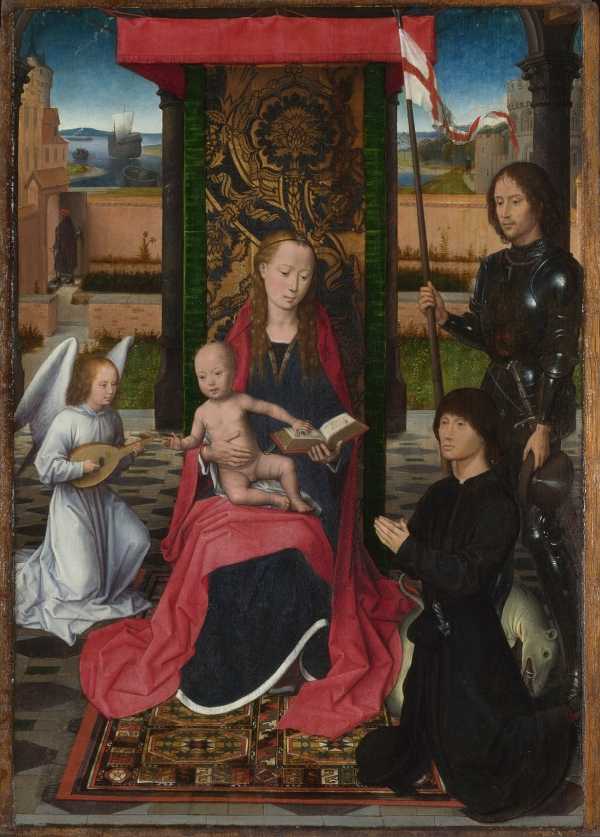 The Virgin and Child with an Angel, Saint George and a Donor by Hans Memling (1480) © The National Gallery, London