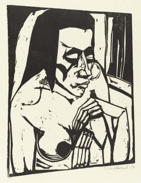 Crouching woman by Erich Heckel (1913)