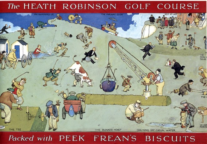 'Heath Robinson's Golf Course', design for a biscuit tin, Peek Frean (c.1925) © William Heath Robinson Trust