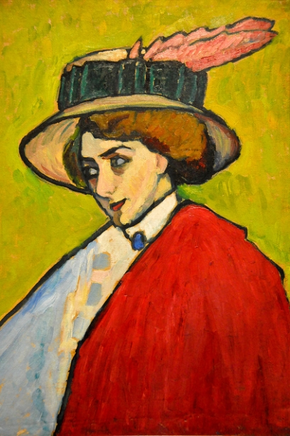 Portrait of a Young Woman in a Large Hat by Gabriele Münter (1909)