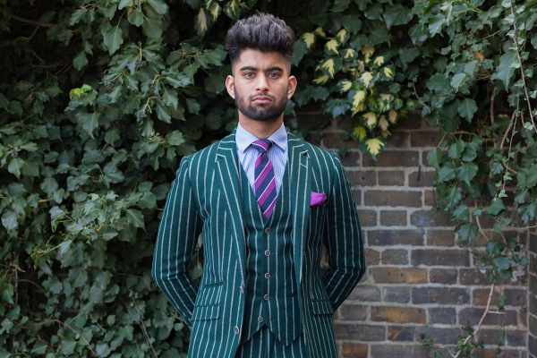 Green chalk stripe suit from the series You Get Me? by Mahtab Hussain 2017 © Mahtab Hussain
