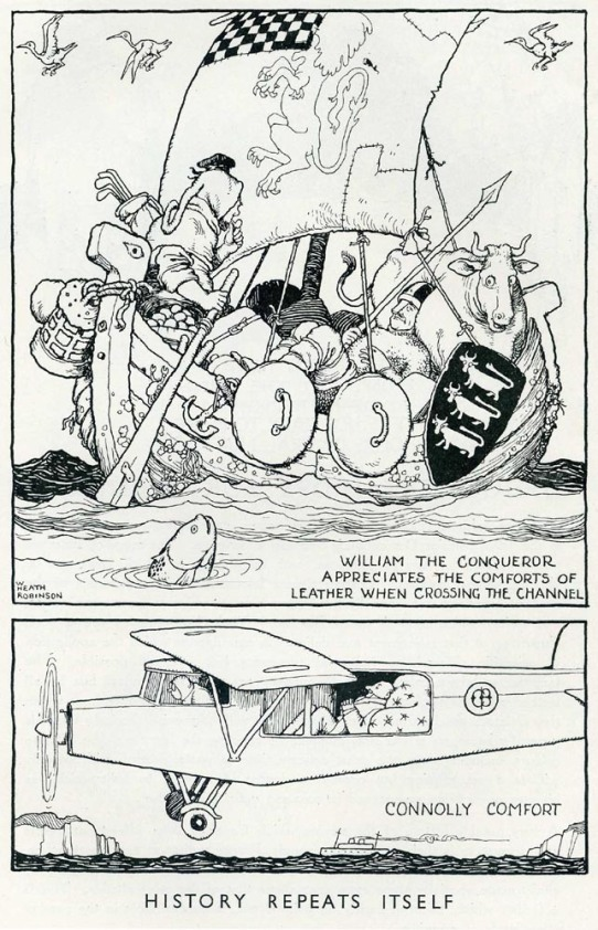 William the Conqueror appreciates the comforts of leather by William Heath Robinson © The William Heath Robinson Trust