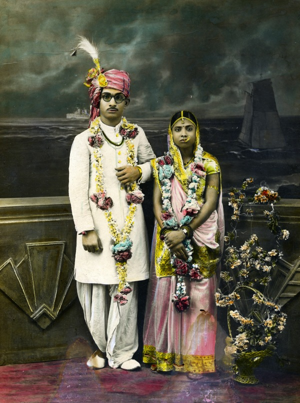 Wedding Portrait of an Indian Couple (c.1920-40) Unknown photographer and artist © Alkazi Foundation for the Arts
