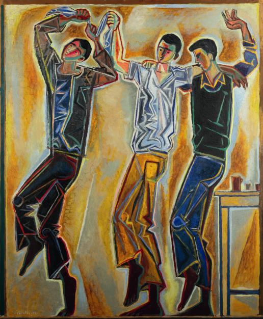 Three dancers, Poros, 1953-1954 by John Craxton. Courtesy of Lincoln College, Oxford © 2018 Craxton Estate/DACS