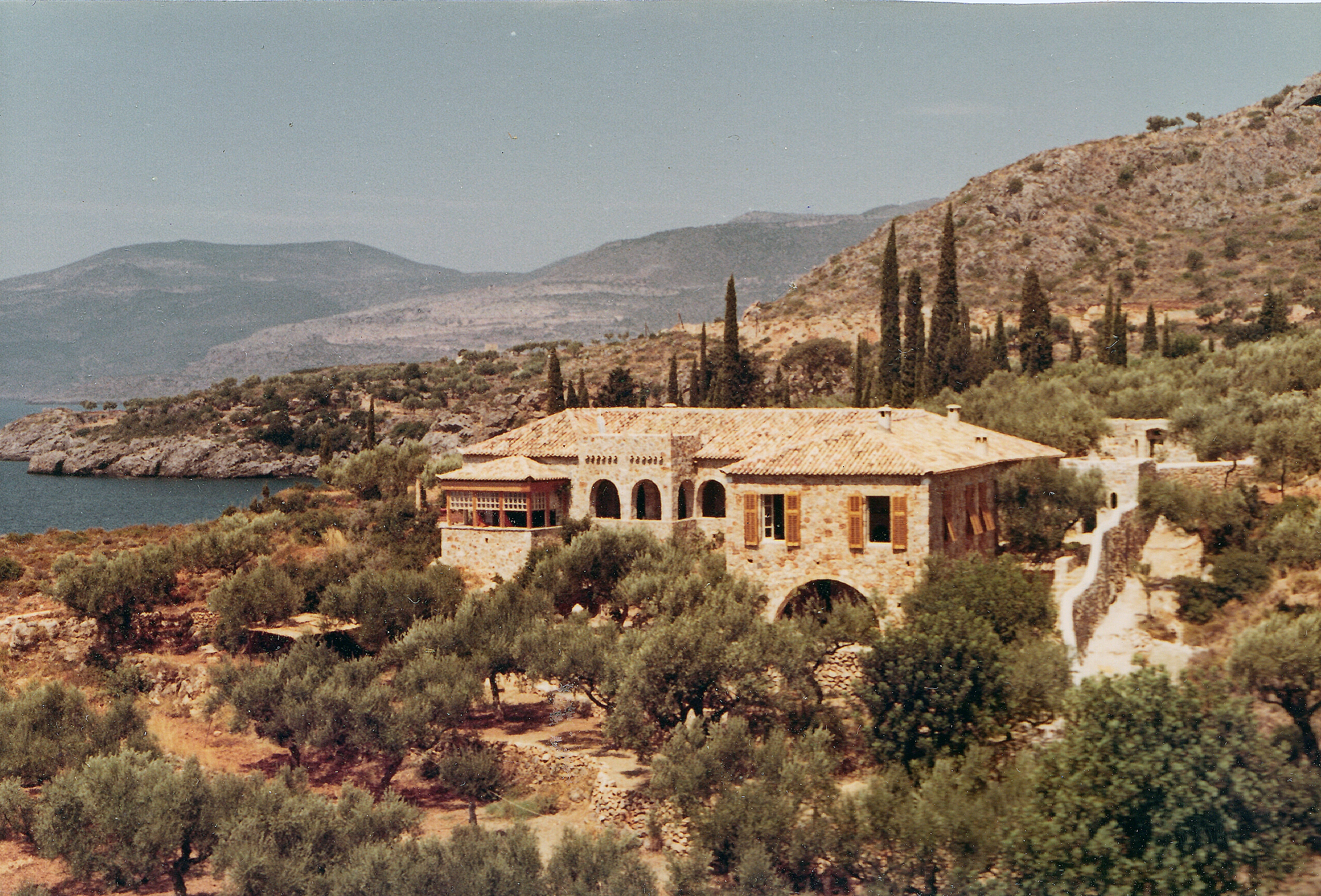 View Of The House In Kardamyli. Photo By Joan Leigh Fermor. National  Library Of