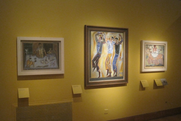 Installation view showing Fish market, Three dancers and Carnival horse by John Craxton