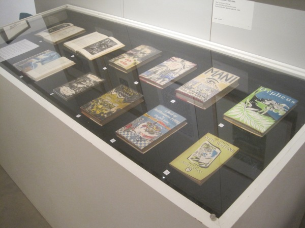 Display case of Neo-Romantic book covers