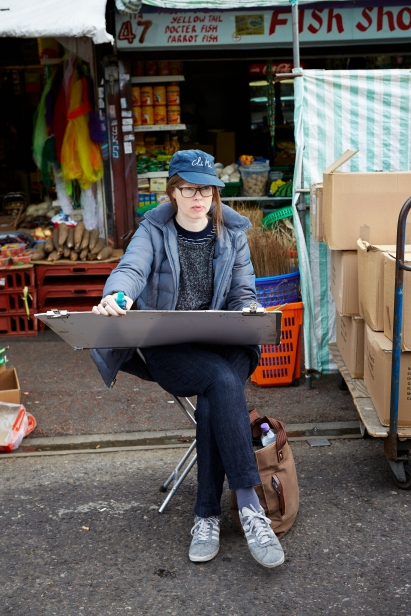Lucinda Rogers at work in Ridley Road Market. Photo by Patricia Niven