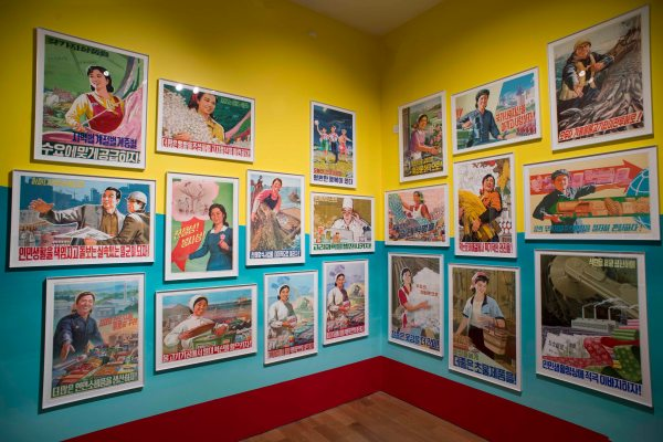 Installation view of the poster room at Made in North Korea: Everyday Graphics from the DPRK at the House of Illustration