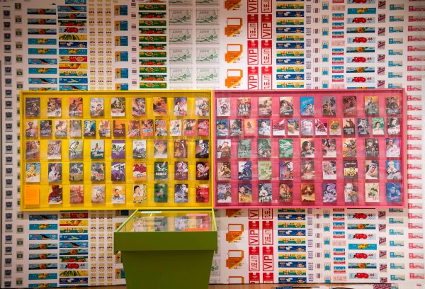 Installation view of North Korean comic books in room four of 'Made in North Korea: Everyday Graphics from the DPRK' at the house of Illustration