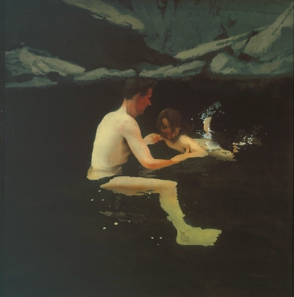 Melanie and Me Swimming by Michael Andrews (1978-9) Tate © The estate of Michael Andrews