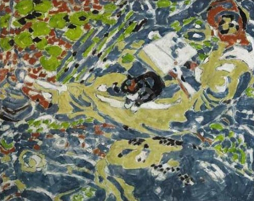 Reader with cat by David Milne (1916)