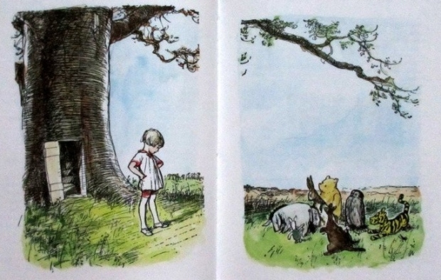 Surely the tree is the real star of this illustration. From Winnie-the-Pooh Exploring a Classic at the Victoria and Albert Museum, London