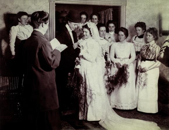 Mock wedding, United States, circa 1900 © Sébastien Lifshitz Collection. Courtesy of Sébastien Lifshitz Collection and The Photographers' Gallery
