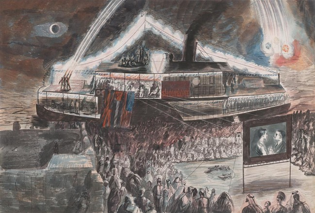 The Showboat at Baghdad (1944) by Edward Bawden © Estate of Edward Bawden.