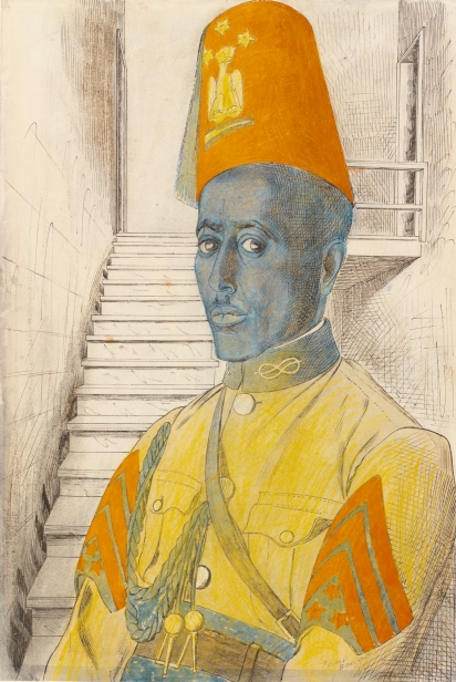 A Sergeant in the Police Force formed by the Italians by Edward Bawden. Watercolour, chalk and ink on paper © IWM © Estate of Edward Bawden
