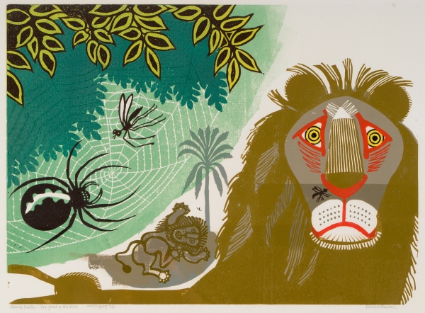 Aesop's Fables, The Gnat and Lion (1970) Colour linocut on paper. Trustees of the Cecil Higgins Art Gallery (The Higgins Bedford) © Estate of Edward Bawden