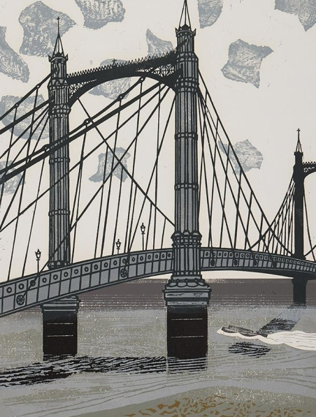 Albert Bridge by Edward Bawden (1966) Linocut on paper. Trustees of the Cecil Higgins Art Gallery (The Higgins Bedford) © Estate of Edward Bawden