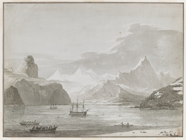 The Resolution and the Discovery in Prince William Sound, Alaska by John Webber © British Library