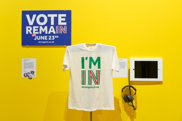 Forlorn poster, t-shirt and other items promoting Remain. Photo by Benjamin Westoby