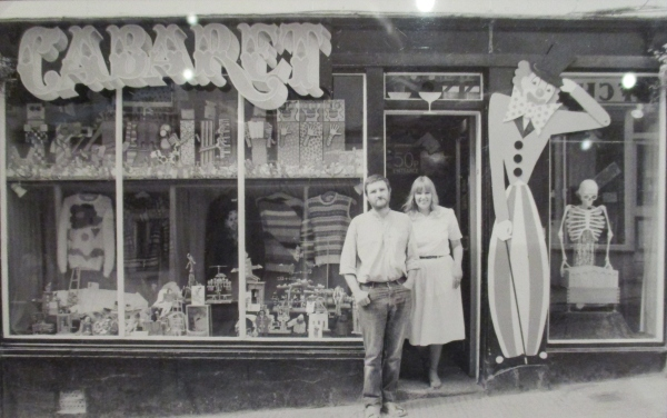 Sue Jackson and Paul Spooner outside Cabaret, Falmouth, 1983