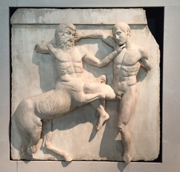 Lapith and centaur fighting from the Parthenon
