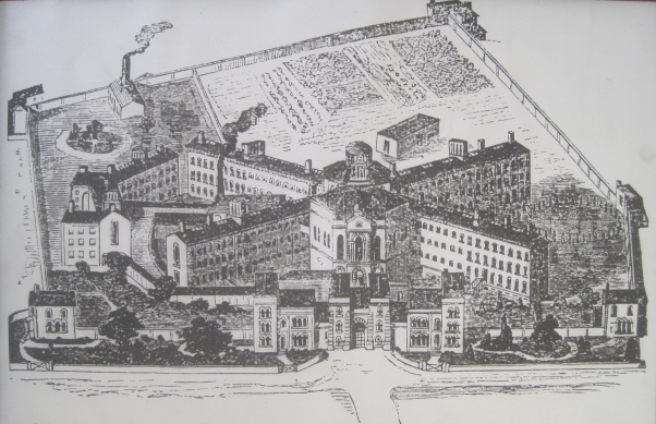 Bird's eye view of the Surrey House of Correction, as it was known when it opened in 1851