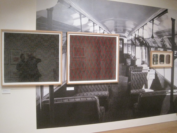Installation view of Enic Marx at the House of Illustration showing her designs for Tube train seat covers