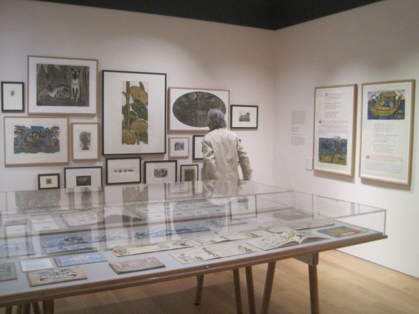 The Main Gallery at the House of Illustration displaying Marx's prints (on the far wall), London Underground posters (on the right wall) and books and children's illustrations (in the display cases)