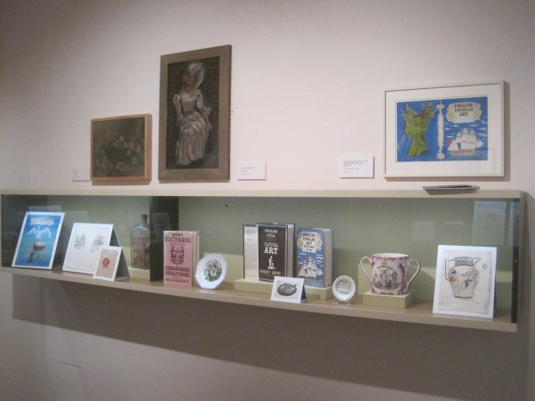 Installation view of Edith Marx at the House of Illustration showing some of her collection of folk art