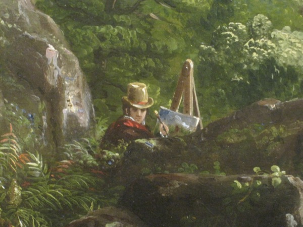 Detail of the Oxbow by Thomas Cole, showing the artist himself