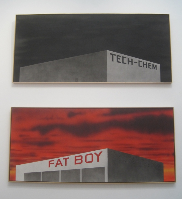 Blue Collar Tech-Chem (1992) and The Old Tech-Chem Building (2003) by Ed Ruscha