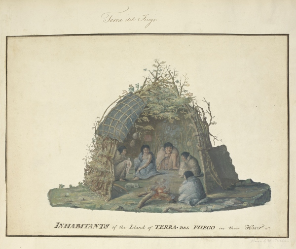 'Inhabitants of the Island of Terra del Fuego in their Hut' by Alexander Buchan, 1769 © British Library Board