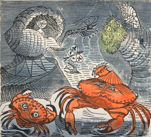 Old Crab and Young by Edward Bawden (c.1956) Letter press with line-drawn illustration with added colours. Trustees of the Cecil Higgins Art Gallery (The Higgins Bedford) © Estate of Edward Bawden