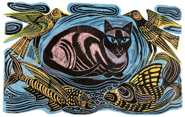 Feline Phantasy. Linocut in four colours (1948) by Enid Marx © Estate of Enid Marx
