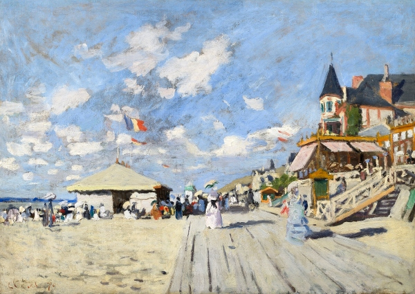 On the Boardwalk at Trouville (1870) by Claude Monet © Photo courtesy of the owner