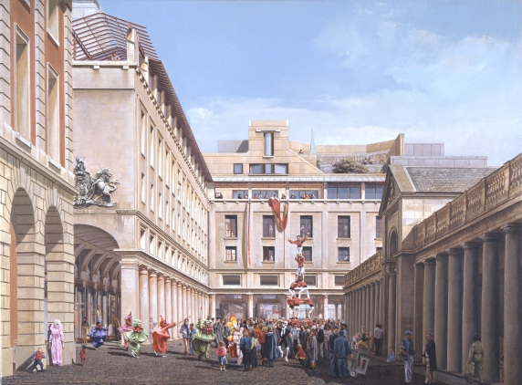 Painting of the Royal Opera House project in Covent Garden by Jeremy Dixon and BDP (1986) Painting by Carl Laubin