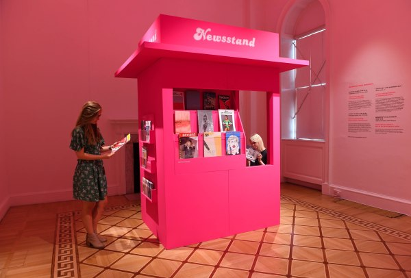 The pink pop-up newstand at Print! Tearing it Up at Somerset House. Photo by Doug Peters