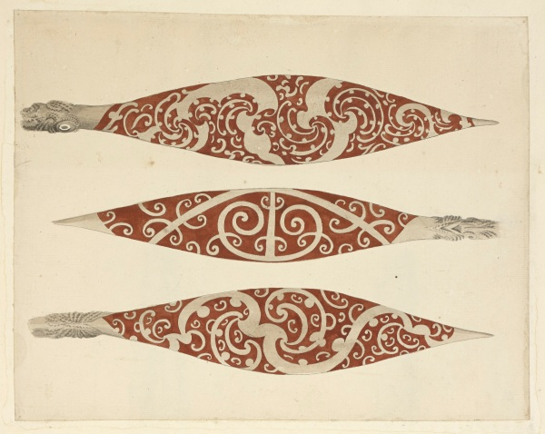 Three Paddles from New Zealand by Sydney Parkinson, 1769 © British Library Board