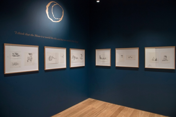 The 'moon' section of the display of Quentin Blake's illustrations for Voyages to the Moon and the Sun at the house of Illustration