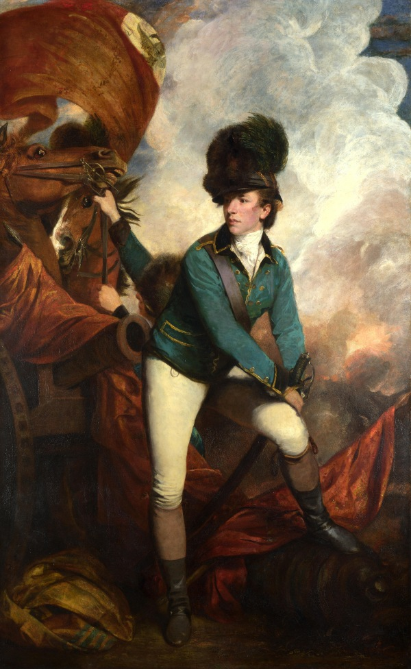Lieutenant-Colonel Banastre Tarleton in the uniform of the British Legion, wearing a 'Tarleton Helmet' by Sir Joshua Reynolds (1782)