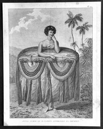 A Young Woman of Otaheite bringing a Present. Print of a drawing by expedition artist John Webber (1777)