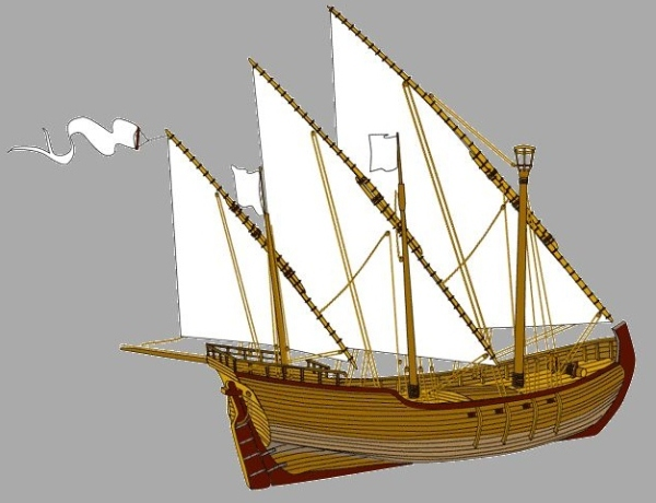 A 15th century Portuguese caravel. it had three masts and a lateen or triangular sail which allowed the caravel to sail against the wind.