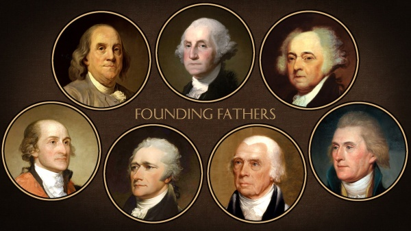 The Founding Fathers of America, from top left clockwise: Benjamin Franklin, George Washington, John Adams, John Jay, Alexander Hamilton, James Madison, Thomas Jefferson