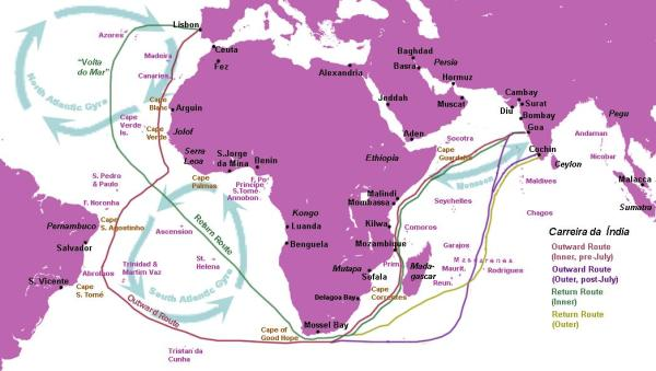 Outward and Inbound routes of the Portuguese Indian Armadas in the 1500s (source: Wikipedia)