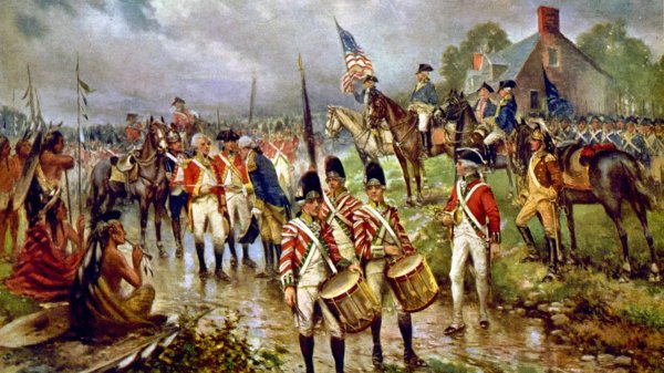 Burgoyne's surrender at Saratoga by artist Percy Moran (1911)